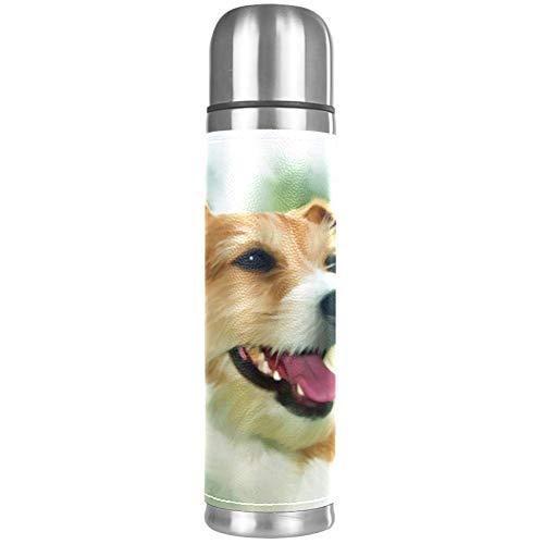 Thermos ThermoCafé Botella térmica aislada,Lindo, Mascota, Perro, Sonrisa, Arte,Frasco de Vacío de Acero Inoxidable 500 ml