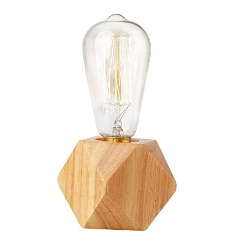 Bedside Table Lamp, Dimmable Wood Lamp Base Stand, Vintage Industrial Table Lamp E27, Nightstand Bed Night Light for Living Room Bedroom Office Cafe Home Lighting Decor(Polygon)