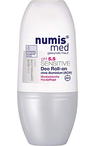 numis med Deo Roll-on ph 5.5 SENSITIVE - Hautpflege vegan & ohne Aluminium - Deodorant für sensible, feuchtigkeitsarme & zu Allergien neigende Haut (1x 50 ml)