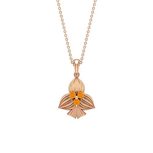 Collar con colgante de tres piedras de 1/4 quilates, collar de zafiro naranja creado en laboratorio, collar de trilogía para mujeres, collares con colgante grabado en oro (calidad AAAA) naranja