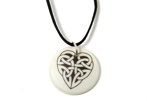 Touchstone Pottery Celtic Heart Necklace Porcelain Round Pendant