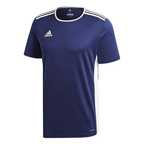adidas Men's Entrada 18 AEROREADY Primegreen Regular Fit Soccer Short Sleeve Jersey, Dark Blue/White, Medium
