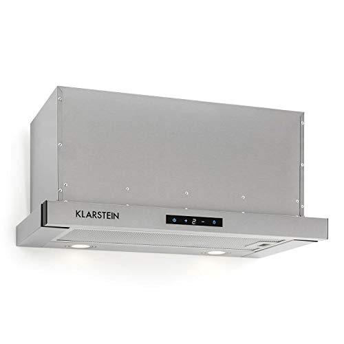 Klarstein Vinea - Campana extractora de bajo mueble, Vidrio de seguridad, Extraíble, 610 m³/h máx. extracción humo, iluminación, Filtro de grasa, Clase Energética A, 60 cm ancho, Gris metalizado