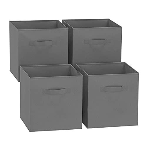 GREATOOL Caja de Almacenaje Plegable, Pack 4 Unidades, 31x31x31cm, Cajas organizadoras en Tela, Caja para organizar Ropa, Juguetes y Sábanas en Armarios (4 Unidades, Gris Oscuro)