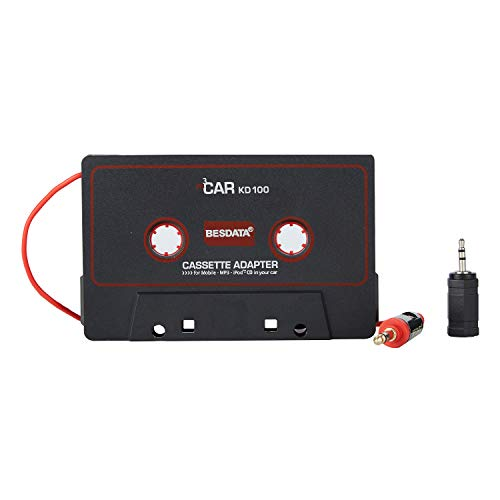 CICMOD KFZ-Kassettenadapter AUX Kassette Auto Radio Adapterkassette 3,5 mm AUX Kabel für MP3 CD Musik Player Schwarz