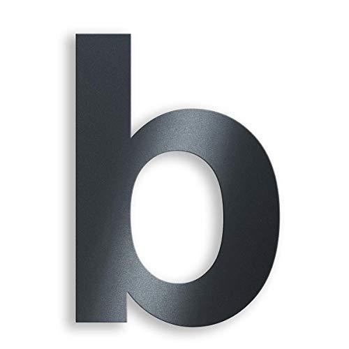 Metzler Edelstahl Hausnummer - RAL 7016 Anthrazitgrau Feinstruktur Pulverbeschichtet - Schrift Arial - Höhe 20 cm - Buchstabe b