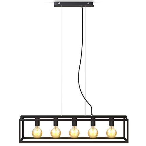 B.K.Licht I 5-flammige Käfig-Pendelleuchte I E27 Fassung I Metall I höhenverstellbar I Schwarz- Matt I Cage I Deckenlampe