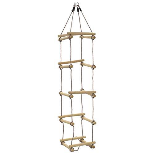 vidaXL Holz Strickleiter mit 5 Holzsprossen Kletterseil Kletterleiter Seilleiter Kinderleiter Kinder Garten Outdoor Länge 200 cm 4 Seiten Ab 3 Jahren