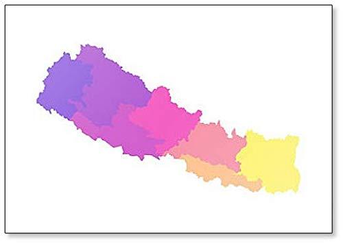 Kleurillustratie van vereenvoudigde administratieve kaart van Nepal koelkastmagneet