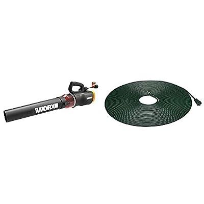 WORX WG520 Turbine 600 Corded Electric Leaf Blower, Black & AmazonBasics 16/3 Vinyl Outdoor Extension Cord, Green, 100 Foot