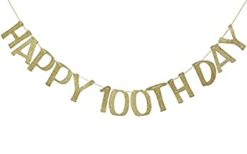 Happy 100th Day Banner Sign Gold Glitter for Baby Birthday Baby Shower Party Decorations Anniversary Decor Photo Booth Props