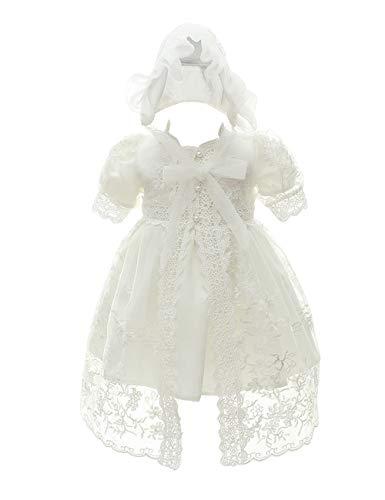 besbomig Cute Bebé Vestidos de Princesa Vestido de Bautizo de Cumpleaños - Baby Niñas Vestido de Banquete de Boda con Sombrero 0-24 Meses