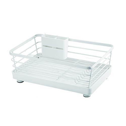 Dish Drainer 2 Tier Metal Dish rack with Removable Drain Board Dish Drainer Utensil Holder for Kitchen Suitable for Dishes,Cups (white) Kitchen Rack (Size : L)