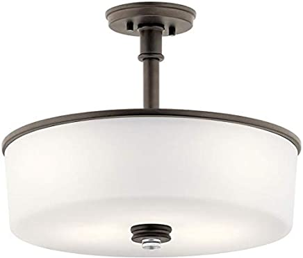 Kichler Lighting 43925OZL18 Joelson - 17.75インチ 30W 3 LED 変換可能ペンダント サテンエッチング塗装ホワイトガラス