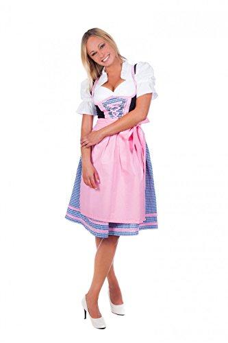 Bayerische Damen Midi Dirndl Kleid 3-teilig mit Schürze und Bluse pink blau karierte, 10, Rosa - 36
