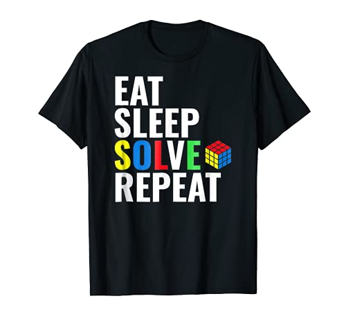 Eat Sleep Solve Repeat Rubik's Cube Tee Shirt, 5 Colorss