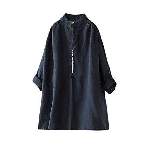 Zegeey Damen T-Shirt Kurzarm V-Ausschnitt Baumwolle Leinen Sommer Casual Tops Bluse Oberteil Hemd Mit Tasche LäSsige Lose Weiß Pink Navy(A6-Marine,46 DE/3XL CN)