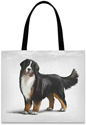 Bernese Mountain Dog Canvas Tote Bag Puppy Pets Casual Grocery Shopping Bags Eco Friendly Shoulder product image