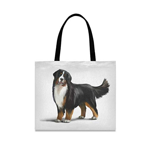 Bernese Mountain Dog Canvas Tote Bag Puppy Pets Casual Grocery Shopping Bags Eco-Friendly Shoulder Handbag Gym Travel Beach Laptop Bags for Women Girls