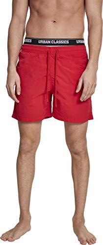 Urban Classics Herren Shorts Two in One Swim, Rot (Firered/Wht/Blk 01441), Large (Herstellergröße: L)