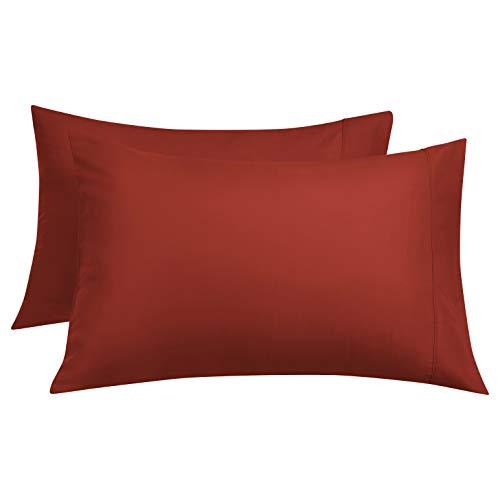 Amazon Basics Lightweight Super Soft Easy Care Microfiber Pillowcases - 2-Pack, Standard, Red