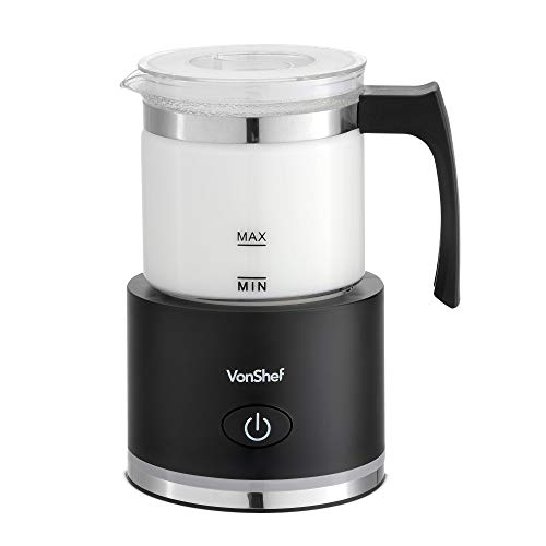 VonShef Milk Frother, Electric Warmer with Hot or Cold Functionality with Detachable Glass Jug & Non-Slip Feet, Ideal for Cappuccino, Latte, Macchiato a Hot Chocolate 250ml Black