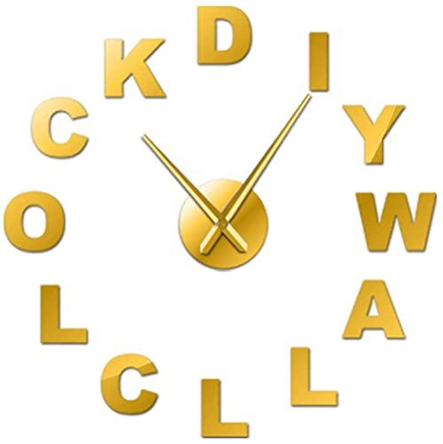 J-Clock Reloj Pared Grande DIY Moderno, Alfabeto inglés, Pegatina Espejo 3D Metal, Relojes Grandes silenciosos, Decoraciones para el hogar, la Oficina y la Escuela