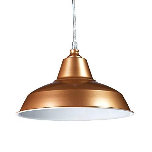 Relaxdays Suspension luminaire lampe à suspension abat-jour en métal couleur pétante HxlxP: 112 x 28 x 28 cm style industriel hauteur réglable, cuivre