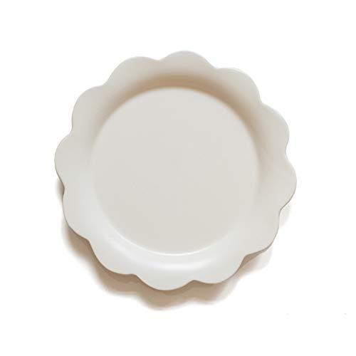 YUWANW Fleur Créative Assiette Plate En Céramique Plat Occidental Plat De Pâtes Plat Salade Bol Soupe Bol Petit Déjeuner Bol Plat À La Maison Plaque, Fleur Blanche Assiette Plate # 68