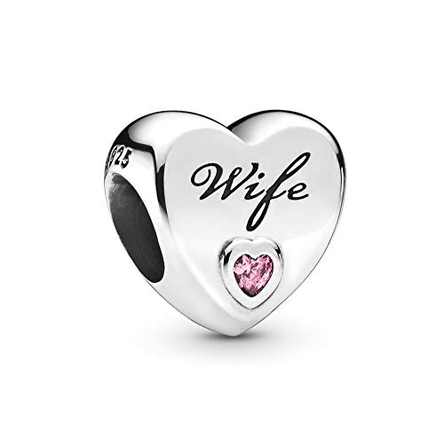 FGT Pink Heart Charm for Bracelets Crystal Bead Sterling Silver Wife Charm for Women Daughter Best Friend Anniversary Birthday Gift