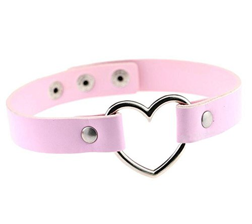 Hosaire 1X Fashion Women Men Cool PU Love Heart-Shape Ring Leather Collar Choker Necklace(Pink)