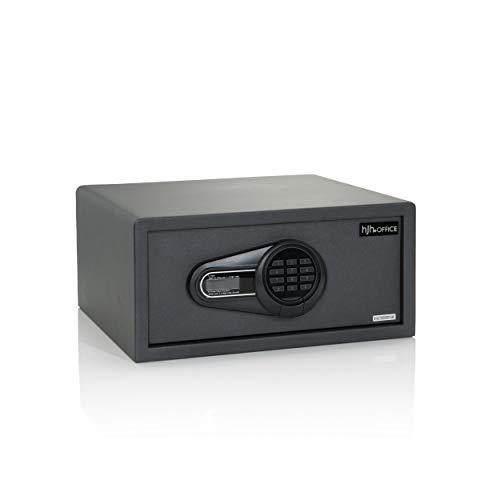 hjh OFFICE Caja fuerte Safe Compact I, de acero, negro, 25,5 L, electrónica, cerradura de combinación doble, 20 x 42 x 37 cm, 830038
