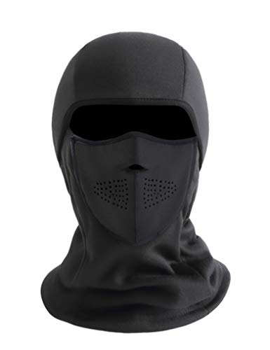 ZERDOCEAN Cold Weather Balaclava Ski Mask Winter Windproof Fleece Thermal Motorcycle Face Mask Magnetic Design Neck Warmer Black