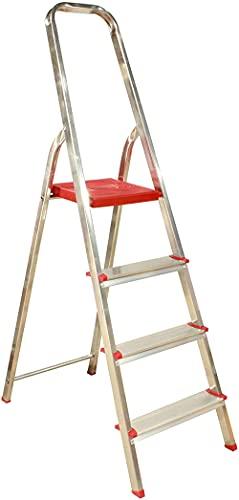 Escalera de 4 peldaños Plegables de Aluminio Muy Ligero y con Gran...