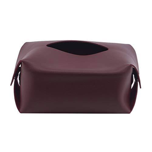 DYSCN Pu Taschentuchhalter aus Leder für Autos Multifunktionale Servietten-Tasche Wohnzimmer-Aufbewahrungstasche Servietten-Papierkarton-Abdeckungshalter, Palisander