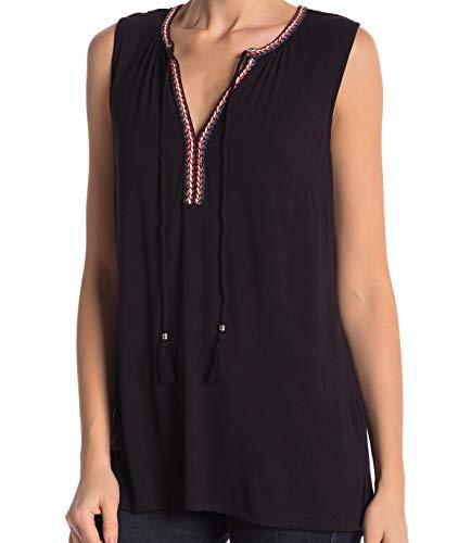 DR2 by Daniel Rainn Women's Tassel Tie Neck Sleeveless Blouse Tee Top (Small, Black Tape 25)