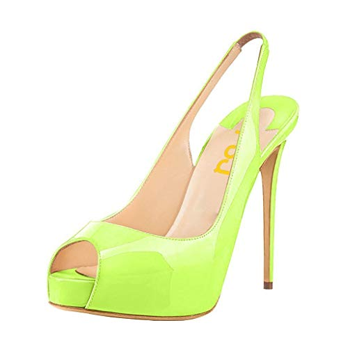 FSJ Women Peep Toe Extreme High Heels Platform Sandals Slingback Stiletto Prom Dress Pumps Size 8.5 Lime Green