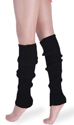 daisysboutique Retro Unisex Adult Junior Ribbed Knitted Leg Warmers (One Size, Black)