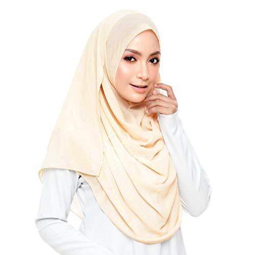 KAVINGKALY Einfarbig Bubble Chiffon Schal Damen Muslim Hijab Langer Schal Wickelschals (Beige)
