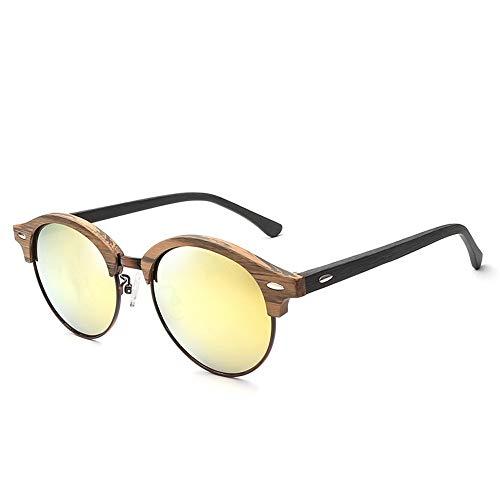Weichunya Fahsion de Madera Completo Marco de Madera Placa de Marco Redondo Gafas de Sol polarizadas Espejo Colorido Personalidad de imitación Grano de Madera Gafas de Sol de Ojo de Gato