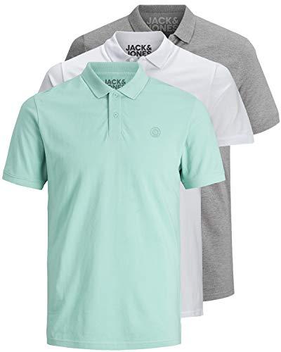 JACK & JONES 3er Pack Herren Poloshirt Slim Fit Kurzarm schwarz weiß blau grau XS S M L XL XXL 12171776 (XL, 3er Pack Farb Mix 15)
