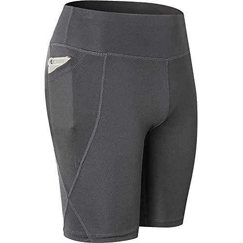 Pantalones Cortos para Mujer Color sólido Simple con Bolsillos Cintura Media Alta Fitness Deportes Correr Medias de Secado rápido Gimnasio Pantalones Cortos de Yoga elásticos Altos XL
