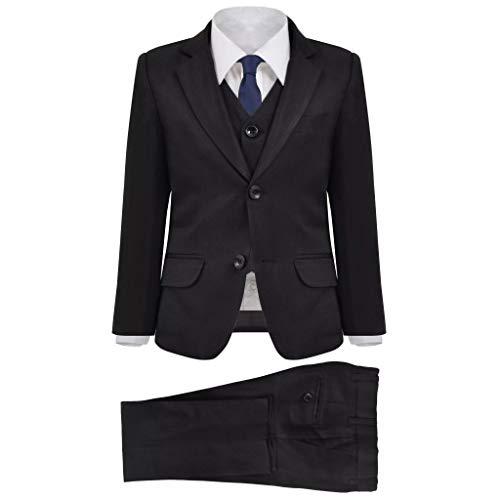 vidaXL Driedelig kostuum voor kinderen maat 104/110 zwart