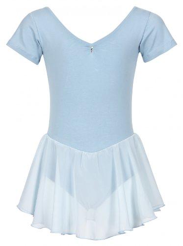 tanzmuster ® Ballettkleid Mädchen Kurzarm - Betty - aus Baumwolle mit Glitzersteinen und Chiffon Röckchen in hellblau, Größe:128/134