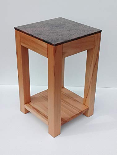 Martin Weddeling - Taburete auxiliar (madera de haya maciza con balda y granito, 30 x 30 x 40 cm), color rojo