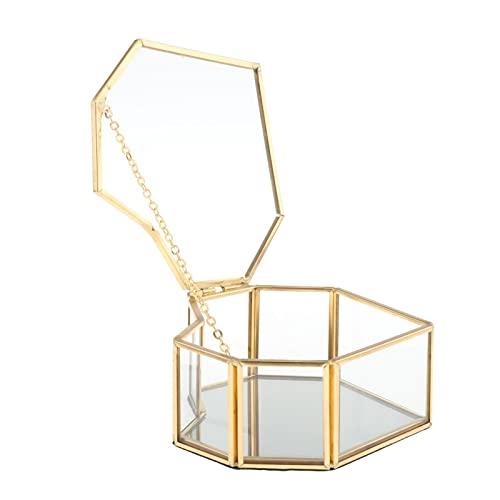 JIEERCUN Caja de Almacenamiento de Cristal de Cristal de Estilo nórdico Caja de exhibición de la joyería de la Bandeja de Oro Cajas de joyería (Color : A)