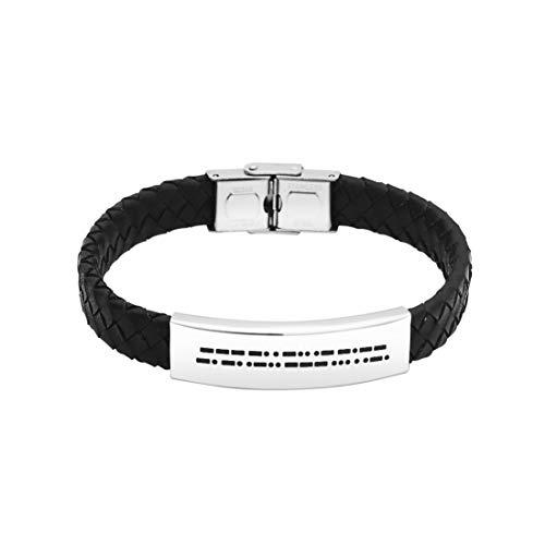 JINGMARUO Valentines Gift for Him Leather Morse Code Bracelet for Men Personalized Love Gift for Boyfriend Husband Hidden Message Bracelet (One Day Closer)