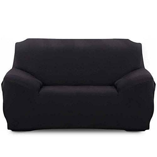 XHNXHN Spandex Stretch Elastic Fabric Sofabezug Waschbarer Sofa Protector Slip Cover (Schwarz, 2-Sitzer)