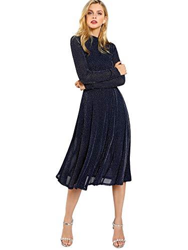 SOLY HUX Damen Midi Plissee Kleider Glanz Faltenkleid Partykleider Cocktailkleider Elegant Knielang Kleid Marineblau L
