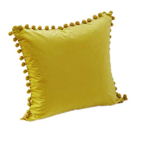 my cat Funda de cojín de terciopelo suave de colores sólidos, funda de almohada decorativa con pompón, cojines de sofá 45 x 45 cm, decoración de salón de limón, 40 x 40 cm